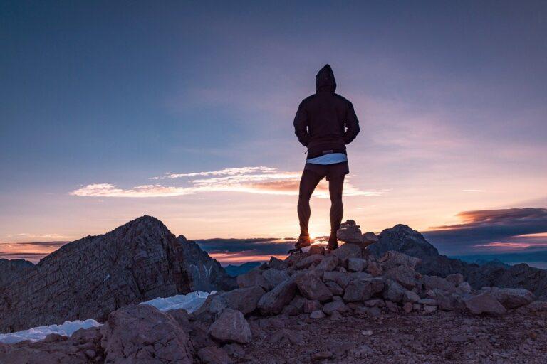 person, hiker, peak